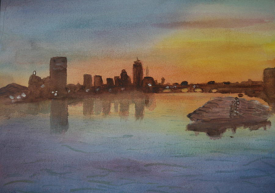 Boston Painting - Boston Charles River At Sunset  by Donna Walsh