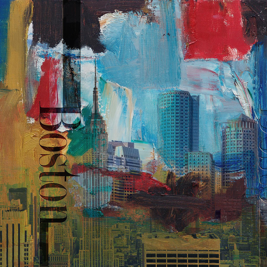 Skyline Painting - Boston City Collage 3 by Corporate Art Task Force