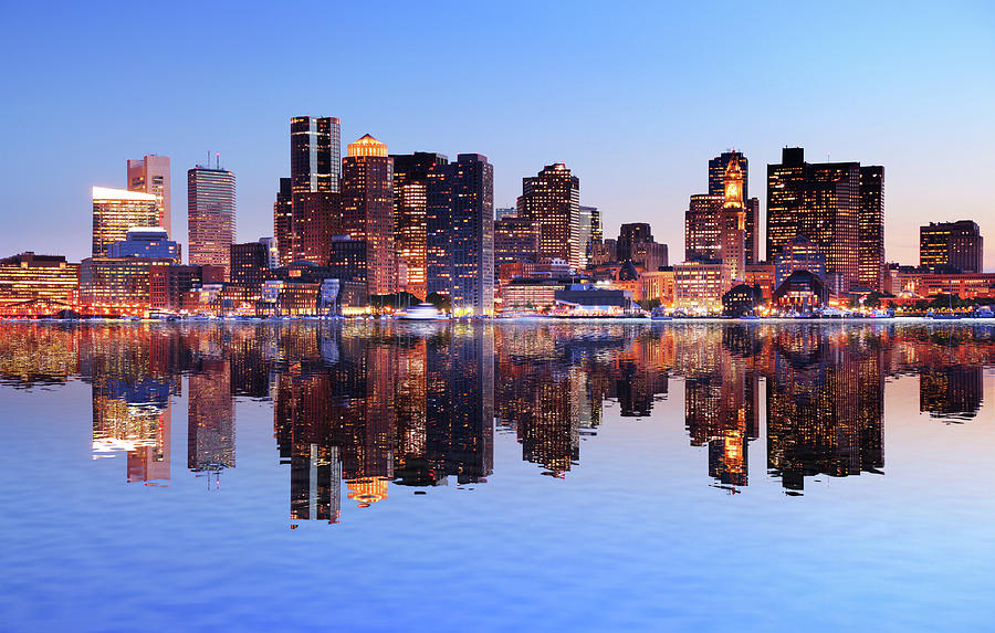 Boston City With Water Reflection At Photograph by Buzbuzzer