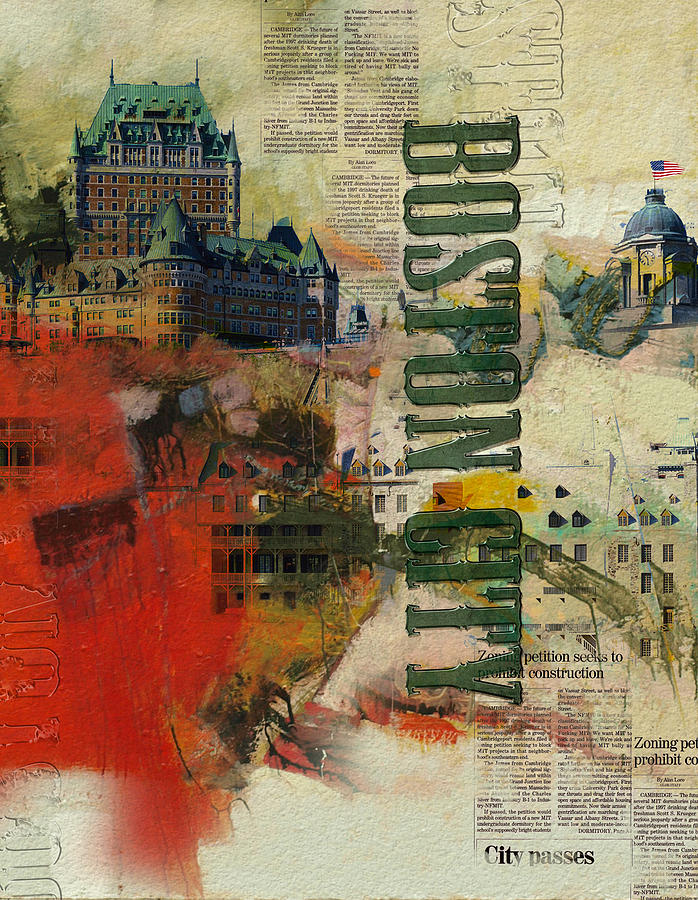 Boston City Painting - Boston Collage by Corporate Art Task Force