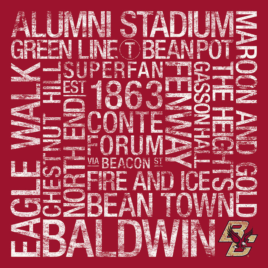 Photo Photograph - Boston College College Colors Subway Art by Replay Photos