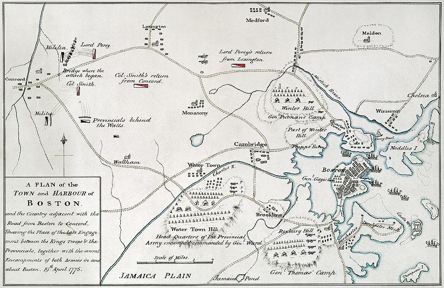Bostonconcord Map 1775 Photograph by Granger