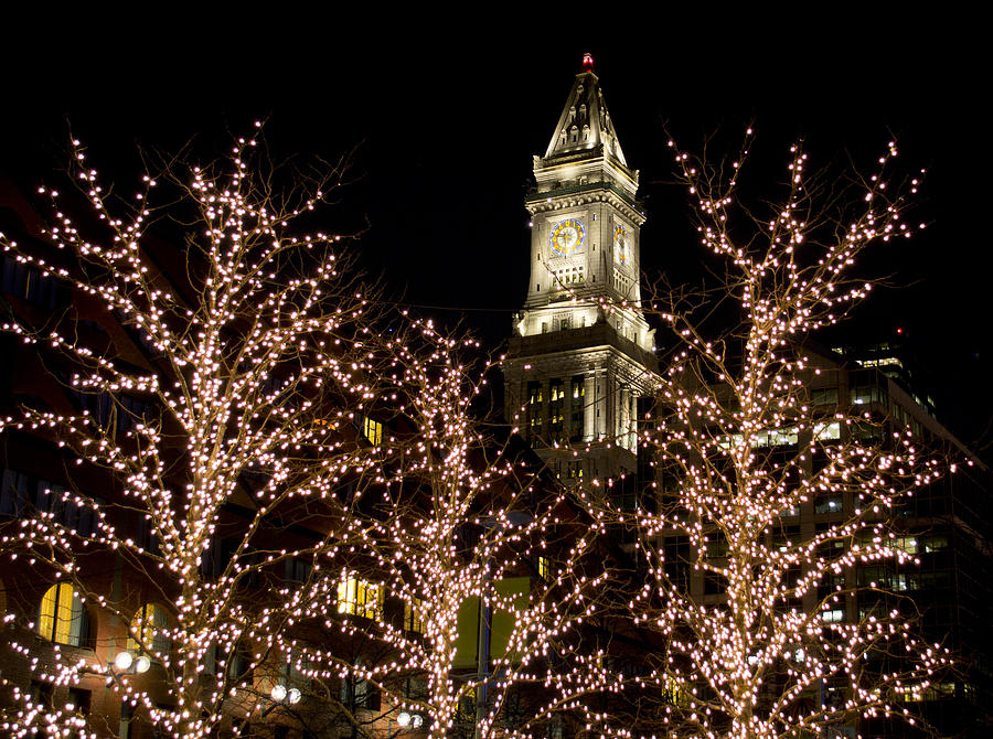 Boston Christmas Lights.Boston Custom House With Christmas Lights By Jatinkumar Thakkar
