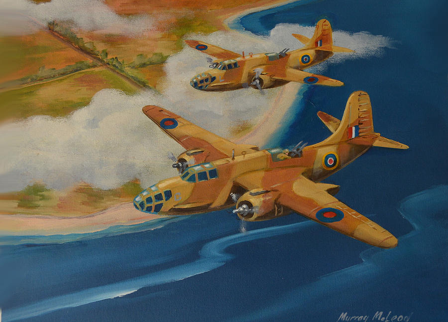 Aviation Art Painting - Boston Duo  by Murray McLeod