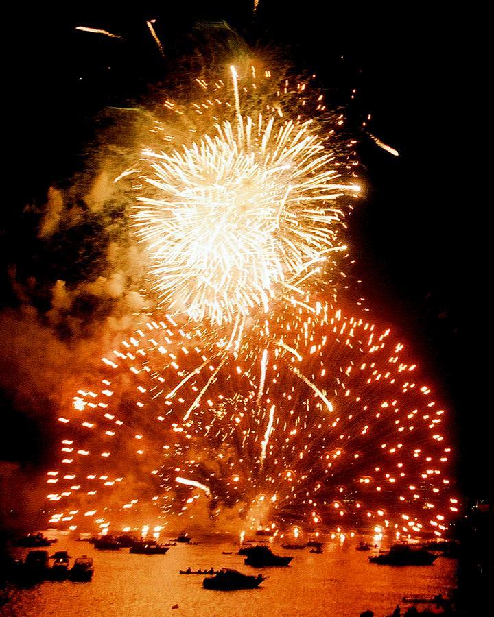 Boston Photograph - Boston Fireworks  A Burst On The Water by John B Poisson