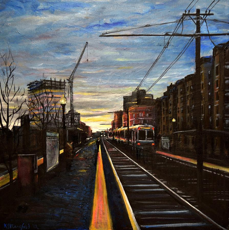 City Painting - Boston Green Line E Train Museum Stop by Karen Strangfeld
