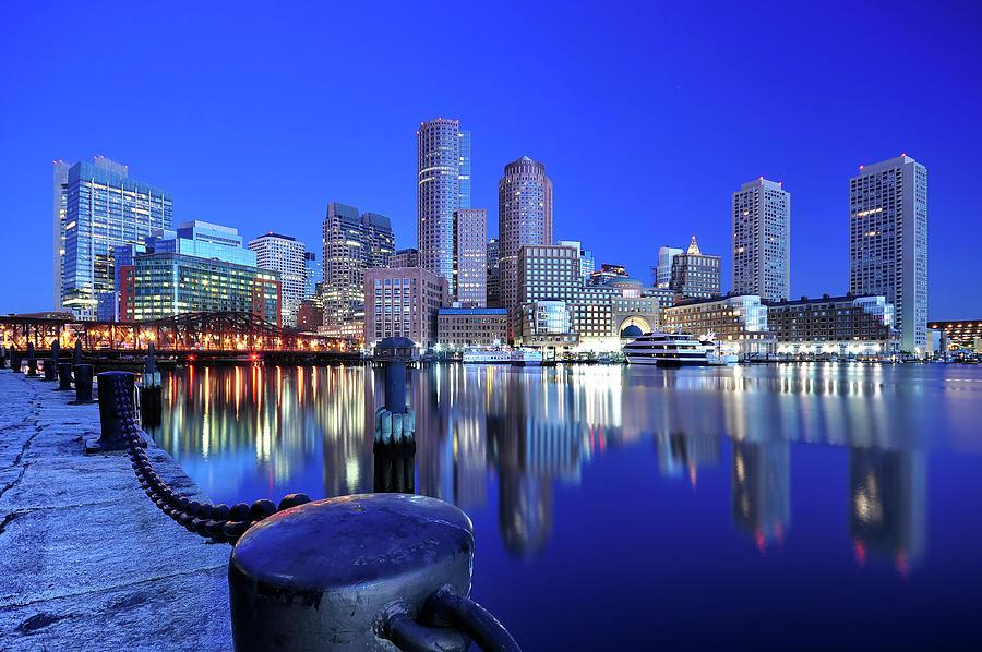 Boston Harbor Before Sunrise Photograph by Shobeir Ansari