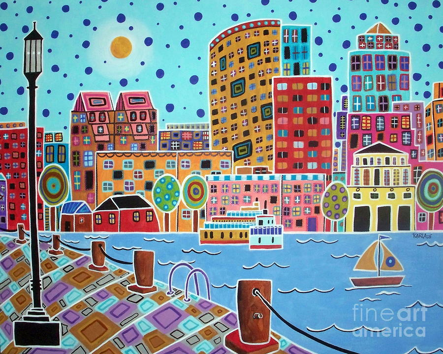 Cityscape Painting - Boston Harbor by Karla Gerard