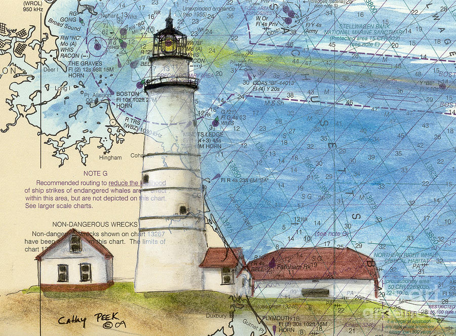 Boston Harbor Lighthouse Ma Nautical Chart Map Art