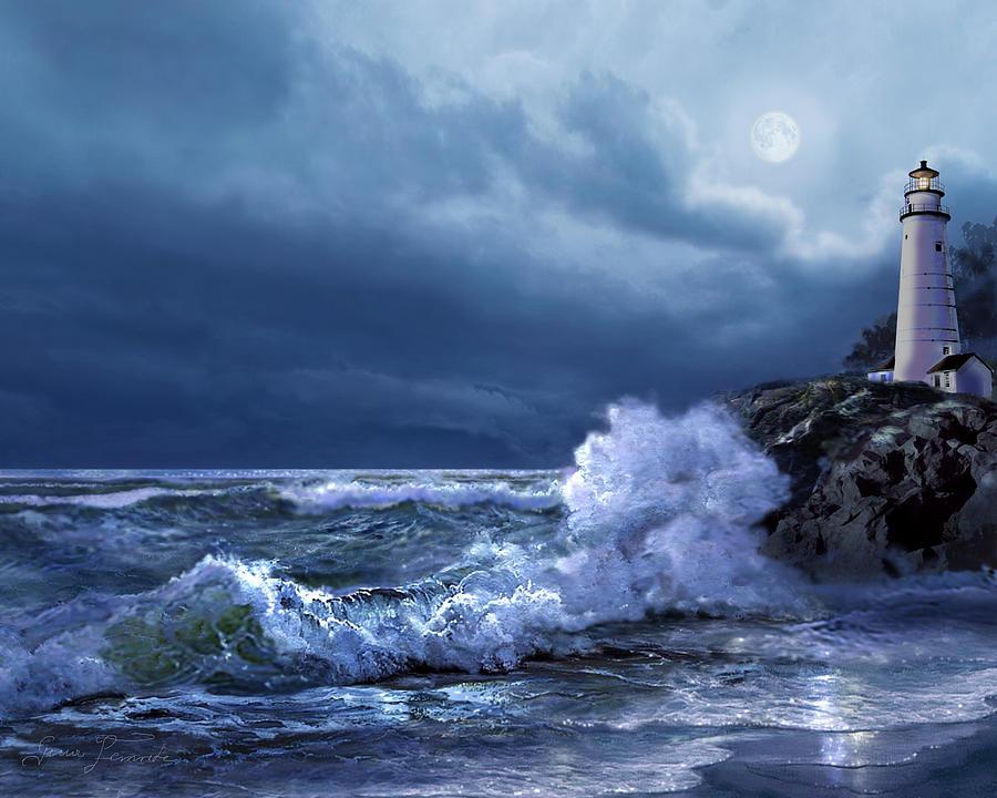 Boston Harbor Lighthouse Moonlight Scene Painting