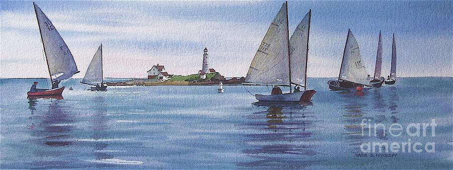 Lighthouse Painting - Boston Harbor Spring Sail by Karol Wyckoff