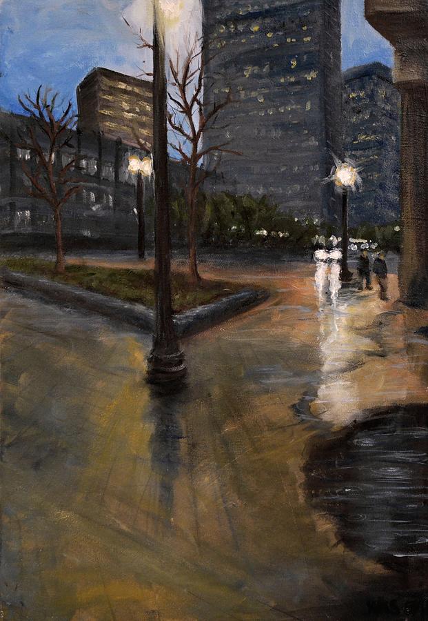 Cityscape Painting - Boston- Haymarket in the Rain by Karen Strangfeld