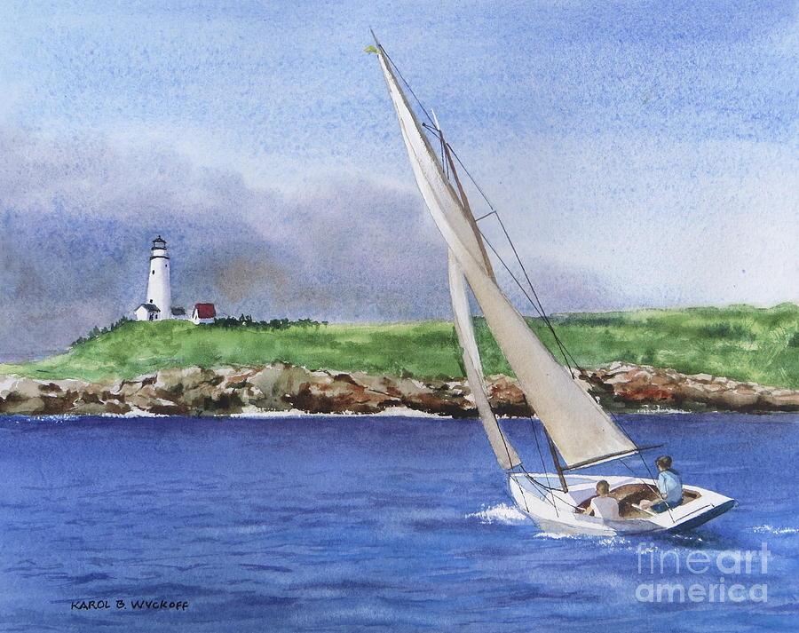 Seascape Painting - Boston Light by Karol Wyckoff
