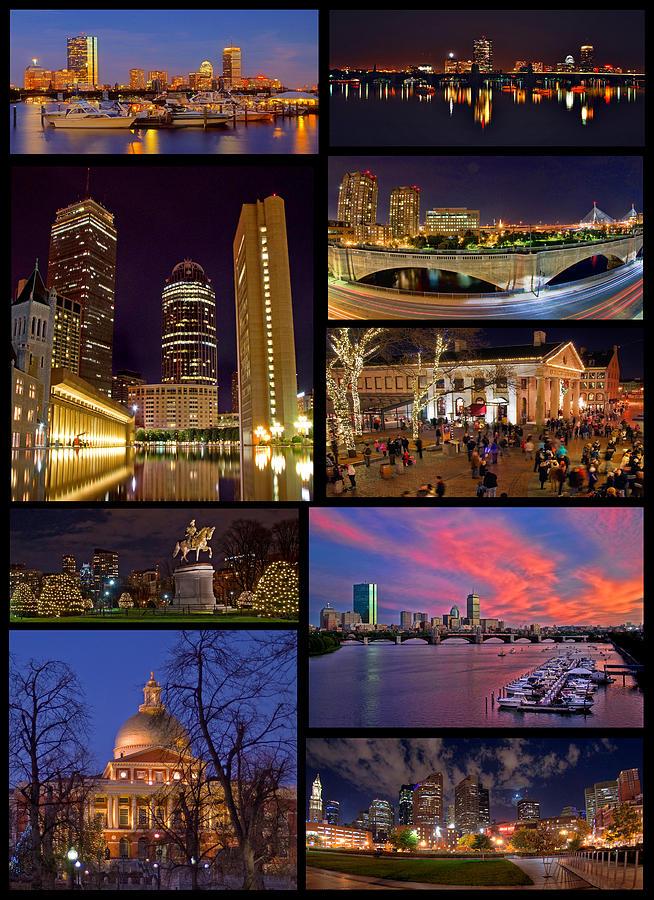 Boston Photograph - Boston Nights Collage by Joann Vitali