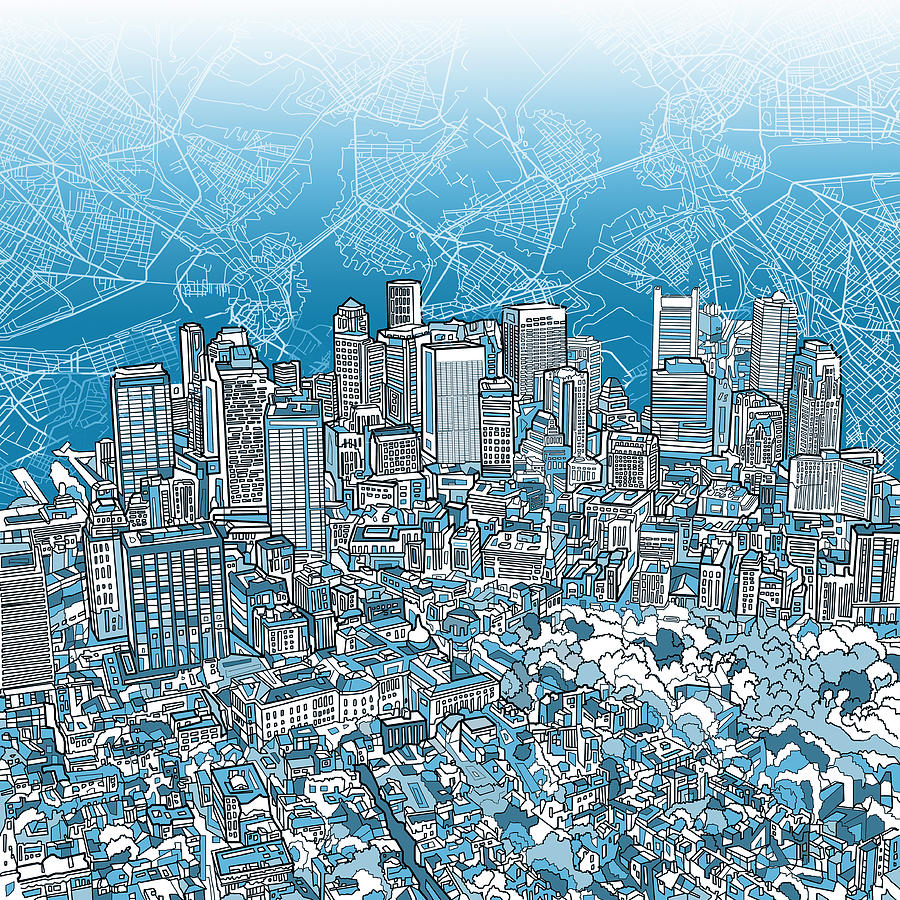 Boston Panorama Abstract 2 Painting By Bekim Art