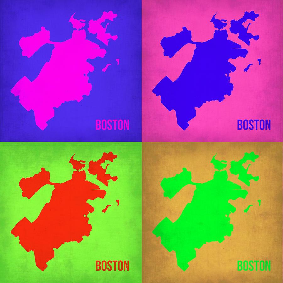 Boston Map Painting - Boston Pop Art Map 1 by Naxart Studio