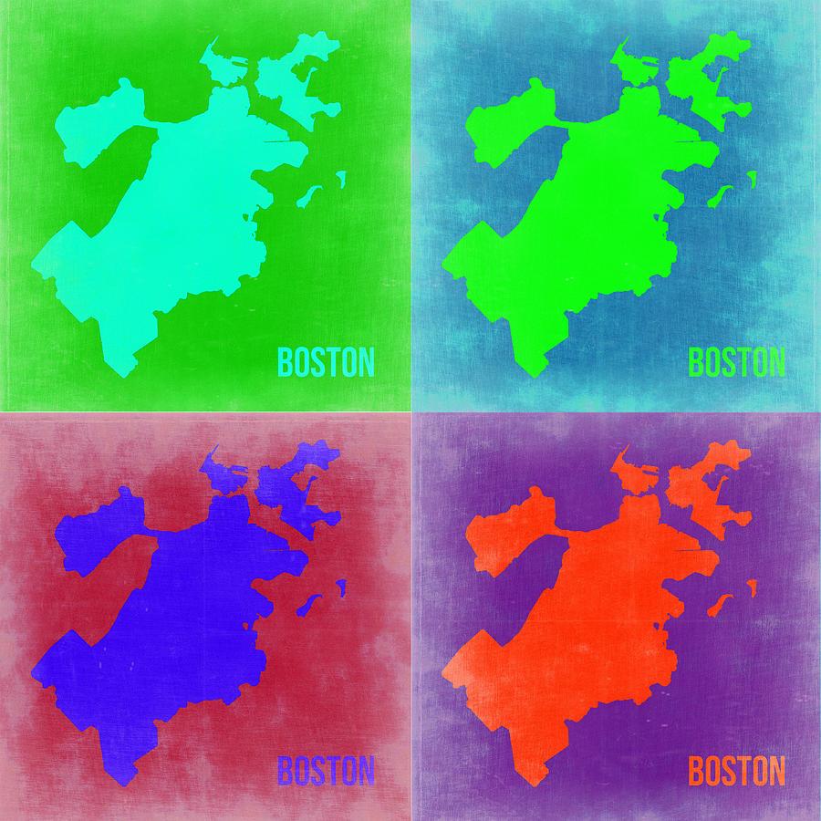 Boston Map Painting - Boston Pop Art Map 2 by Naxart Studio