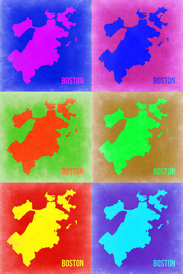 Boston Painting - Boston Pop Art Map 3 by Naxart Studio