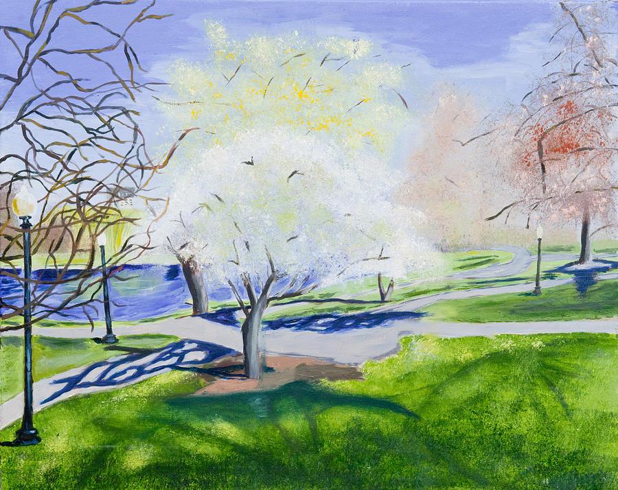 Landscape Painting - Boston Public Garden by Carmela Cattuti