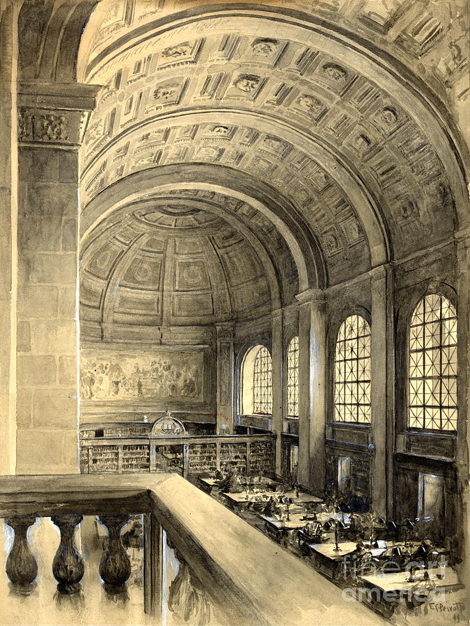 Massachusetts Photograph - Boston Public Library Bates Hall 1896 by Padre Art