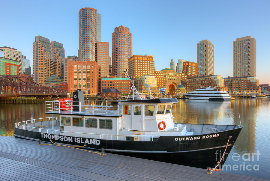 America Photograph - Boston Skyline And Thompson Island Ferry I by Clarence Holmes