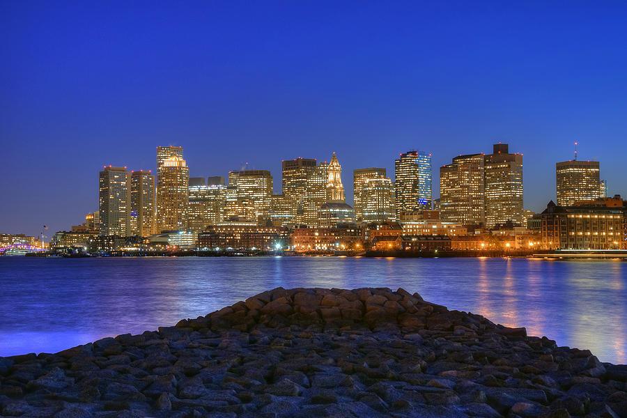 Boston Skyline - Blue Hour Photograph