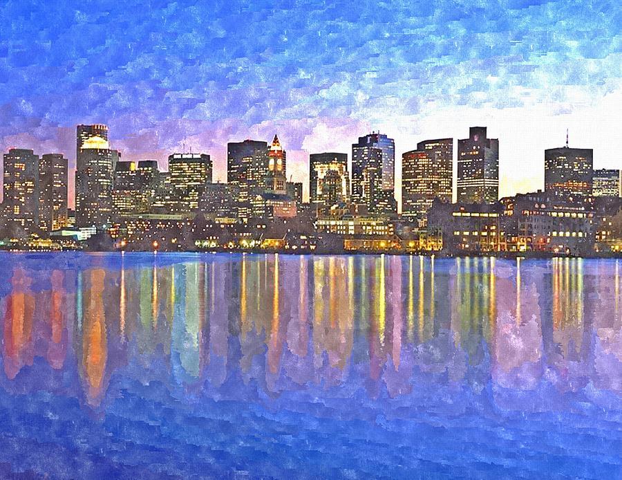 Boston Painting - Boston Skyline By Night by Rachel Niedermayer