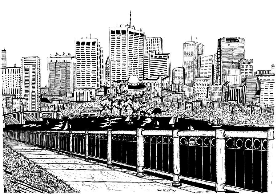 Boston Skyline Hatch Shell Drawing By Conor Plunkett