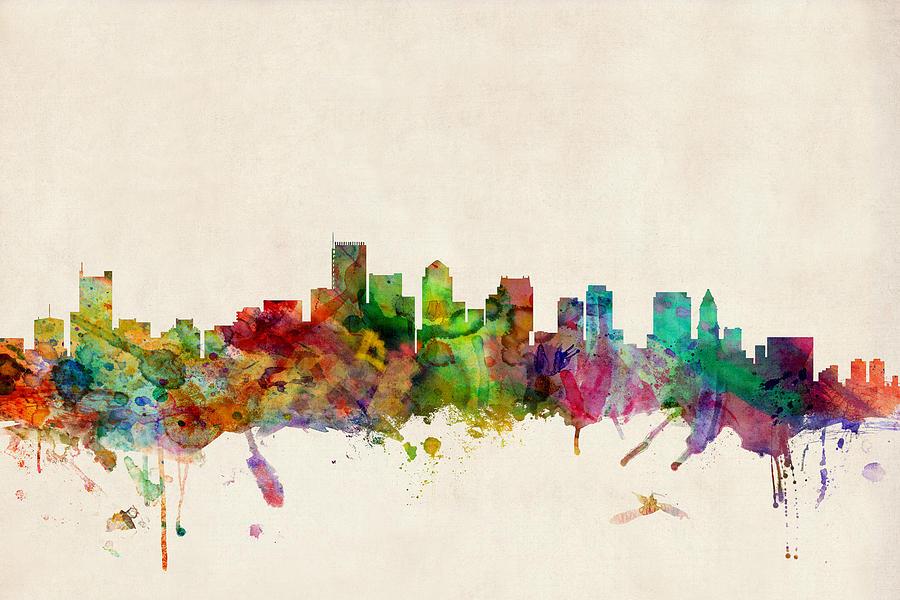Watercolour Digital Art - Boston Skyline by Michael Tompsett