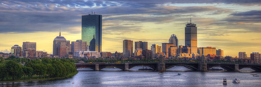 Boston Skyline Sunset Over Back Bay Panoramic Photograph