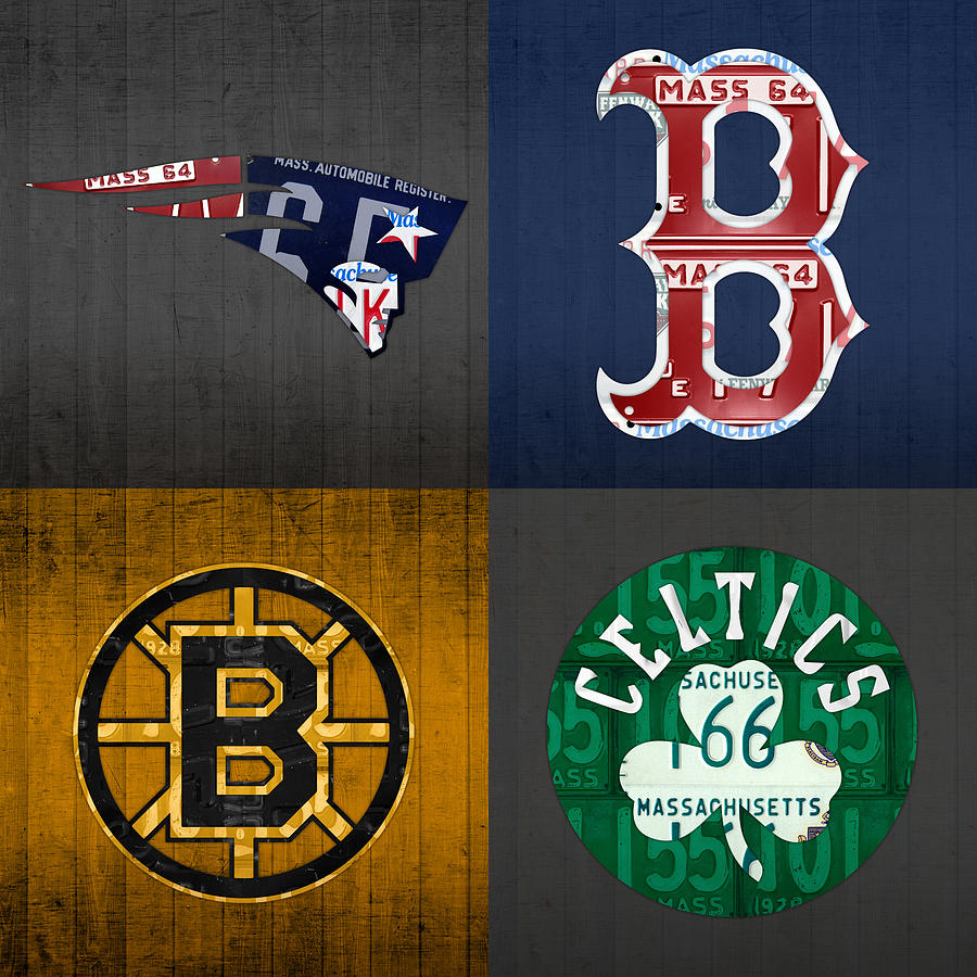Boston Mixed Media - Boston Sports Fan Recycled Vintage Massachusetts License Plate Art Patriots Red Sox Bruins Celtics by Design Turnpike