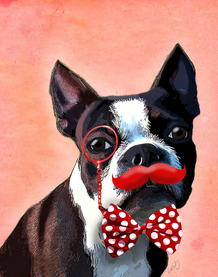 Boston Terrier Framed Prints Digital Art - Boston Terrier Small Red Moustache by Kelly McLaughlan