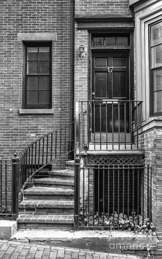 Antique Photograph - Bostonian Door Bw by Jerry Fornarotto & Bostonian Door Bw Photograph by Jerry Fornarotto