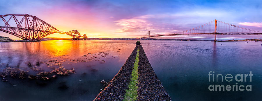 East Coast Photograph - Both Forth Bridges by John Farnan