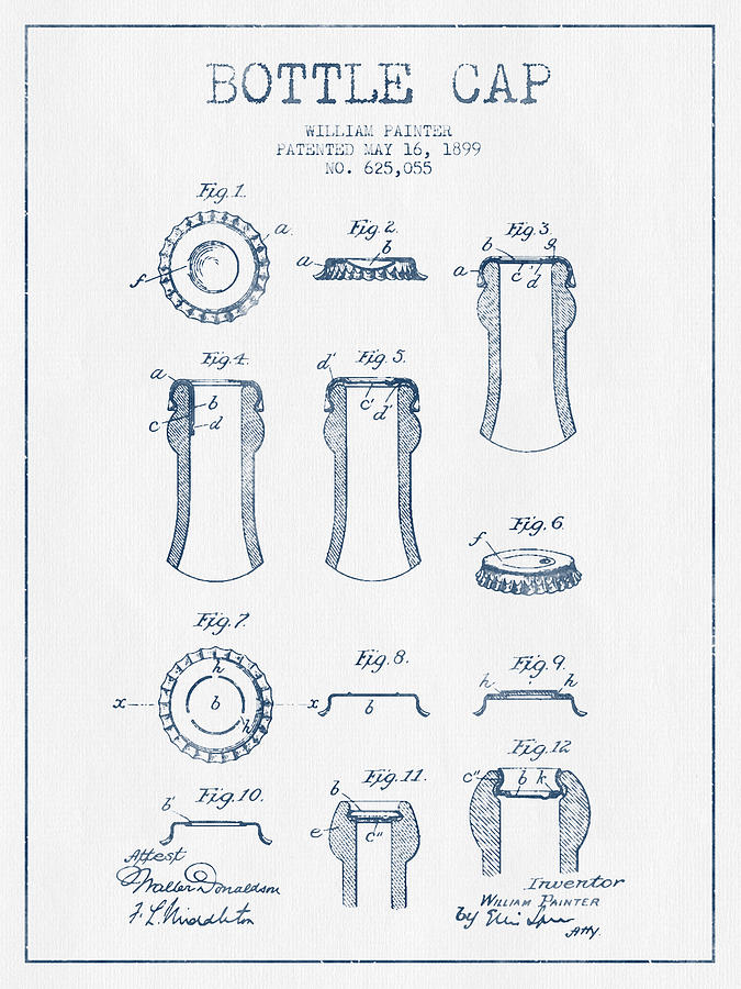 Bottle Cap Patent Drawing From 1899 Blue Ink Digital Art