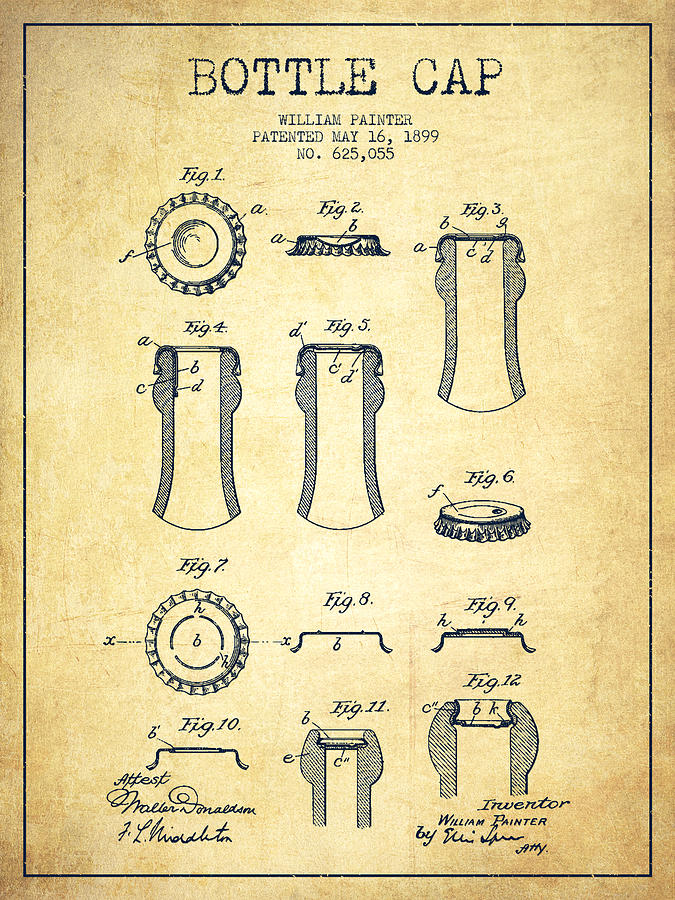 Bottle Cap Patent Drawing From 1899 Vintage Digital Art
