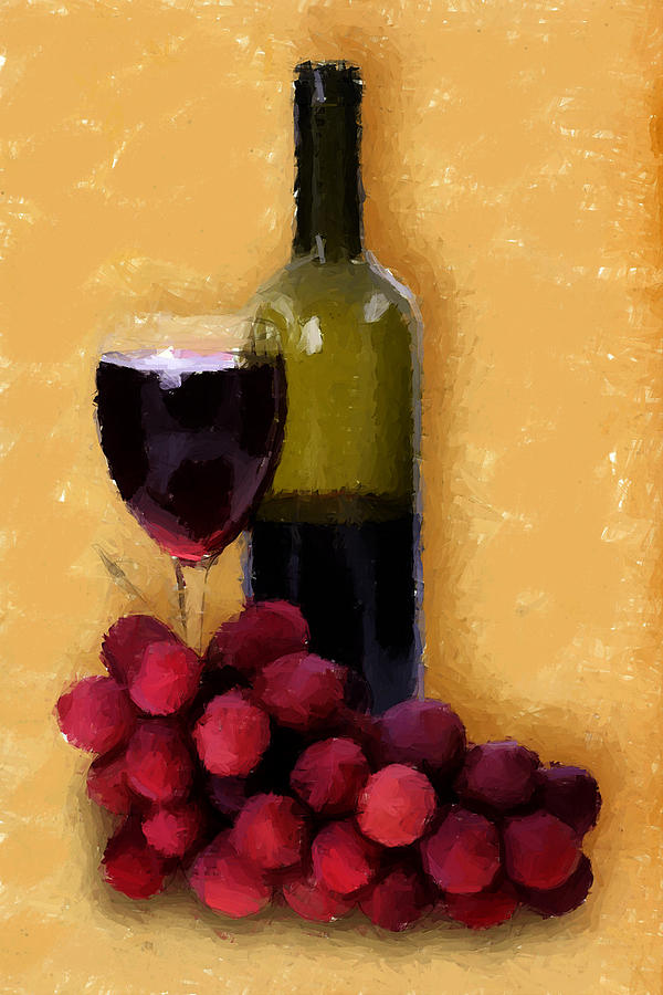 Bottle Of Wine Fruit Of The Vine Painting By Elaine Plesser