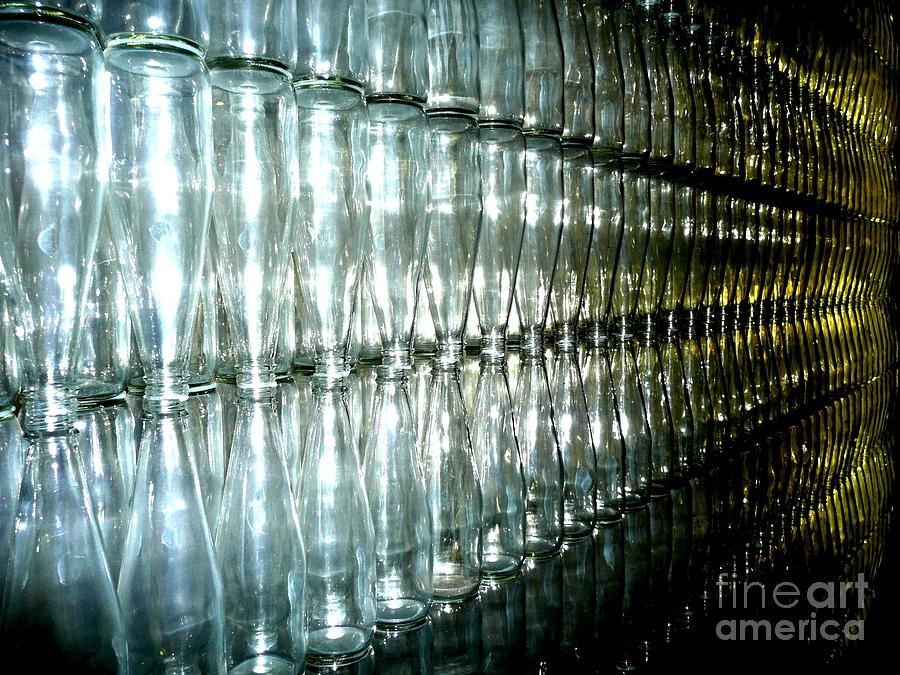 Glass Photograph - Bottle Wall by Sara Graham