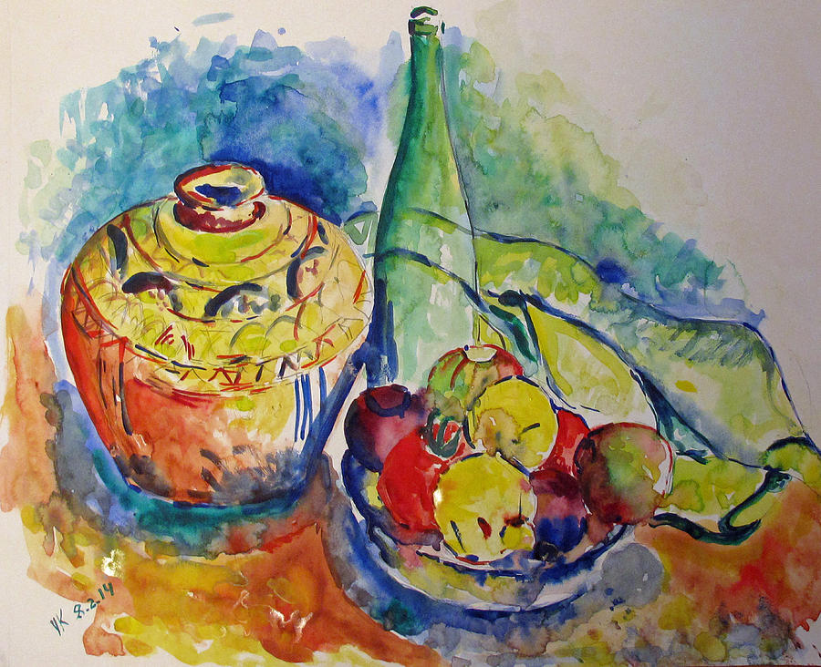 Bottle Painting - Bottle With Fruits by Vladimir Kezerashvili
