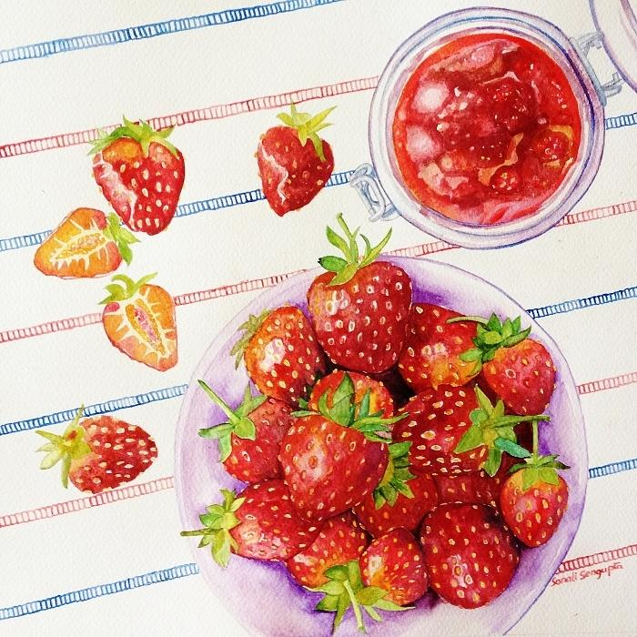 Strawberry Painting - Bottled Strawberries by Sonali Sengupta