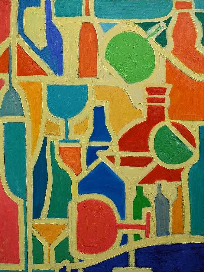 Abstracts Painting - Bottles And Glasses 2 by Ana Maria Edulescu