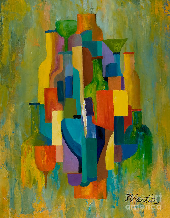 Abstract Painting - Bottles And Glasses by Larry Martin
