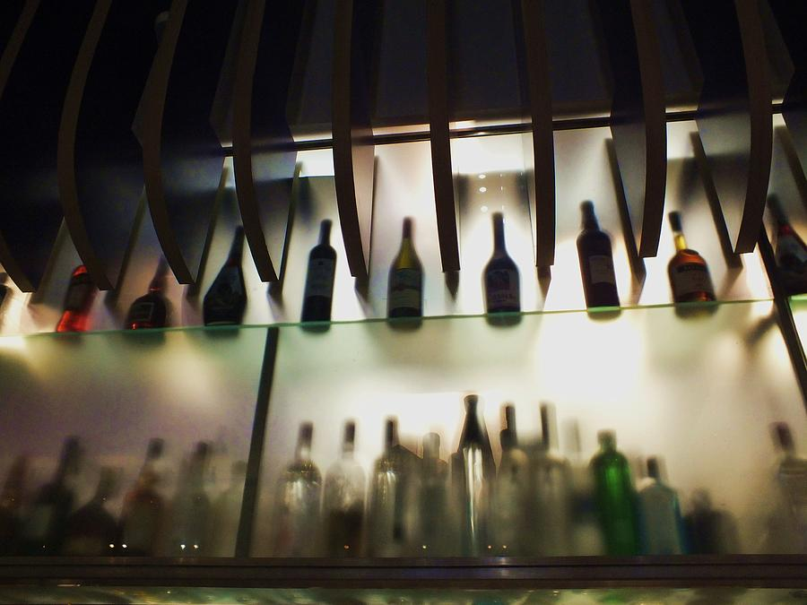Bar Photograph - Bottles At The Bar by Anna Villarreal Garbis