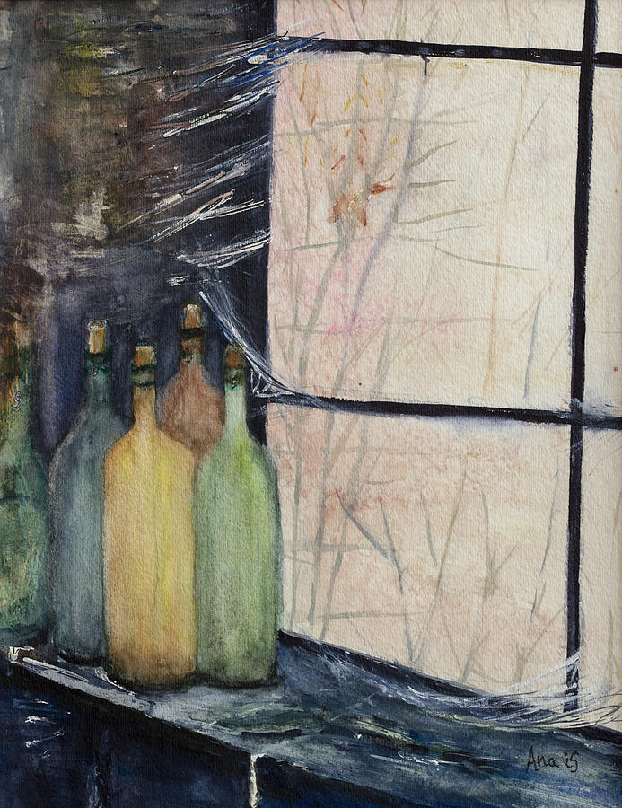 Wine Painting - Bottles Of Wine In Cellar by Anais DelaVega