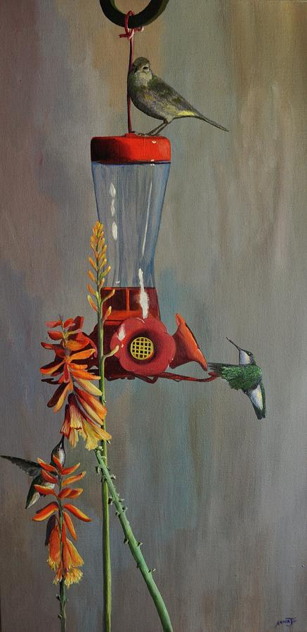Ruby Throated Humming Birds Painting - Bottoms Up by AnnaJo Vahle