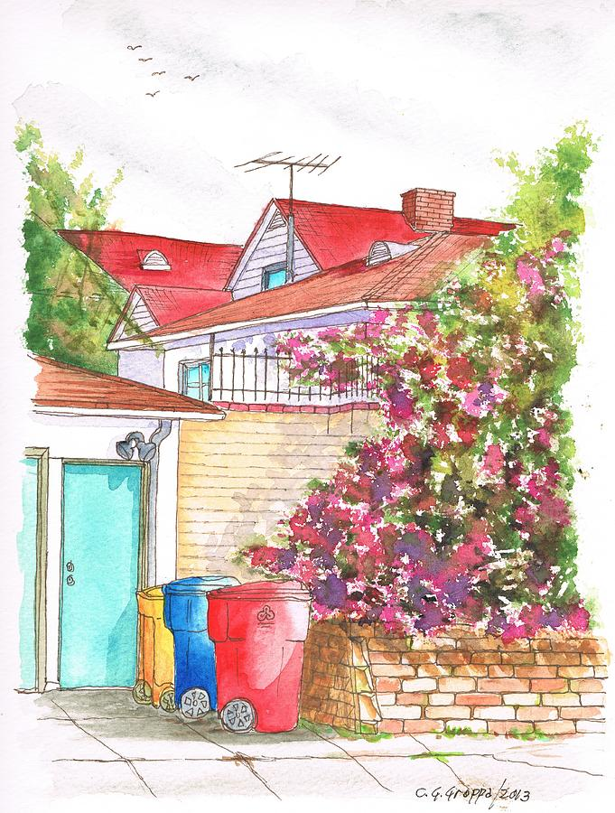 California Painting - Bougainvilleas And Trash Cans In Westwood - California by Carlos G Groppa