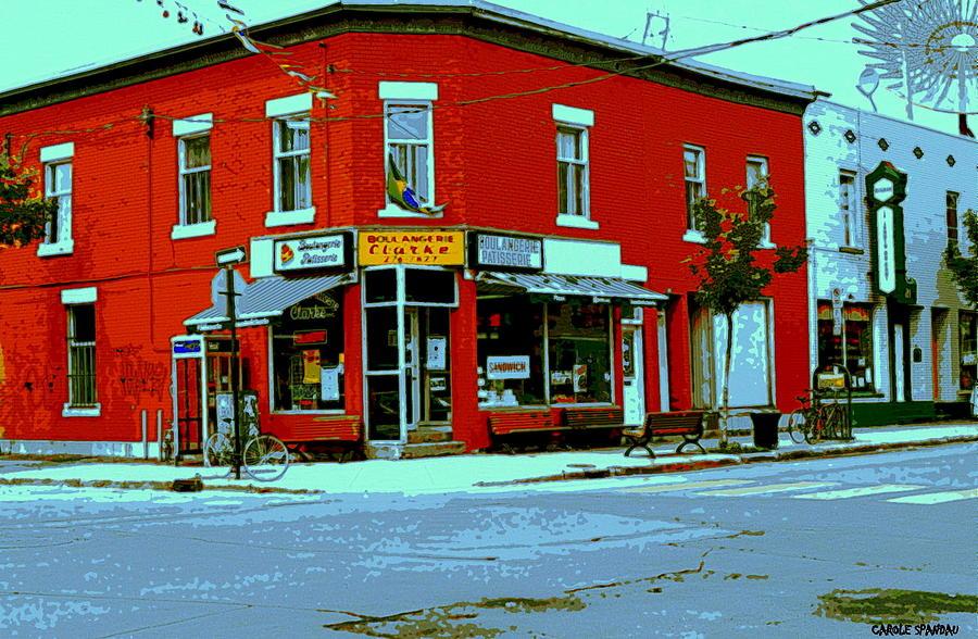 Montreal Painting - Boulangerie Patisserie Clarke Sandwich Shop Corner Depanneur Montreal Street Scene Art by Carole Spandau
