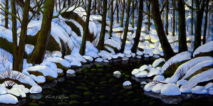 Winter Painting - Boulder Brook In Winter by Frank Wilson
