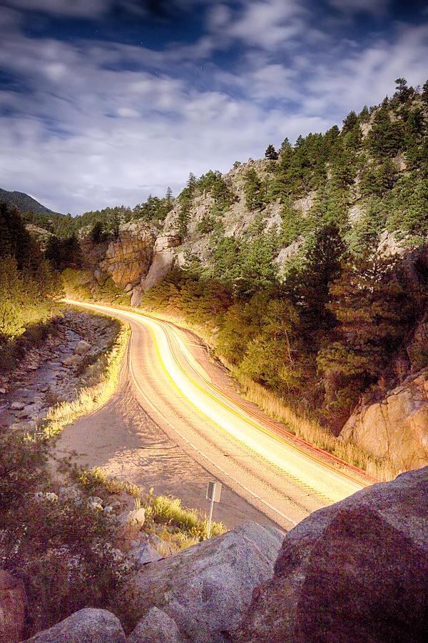 Night Photograph - Boulder Canyon Beams Of Light by James BO  Insogna
