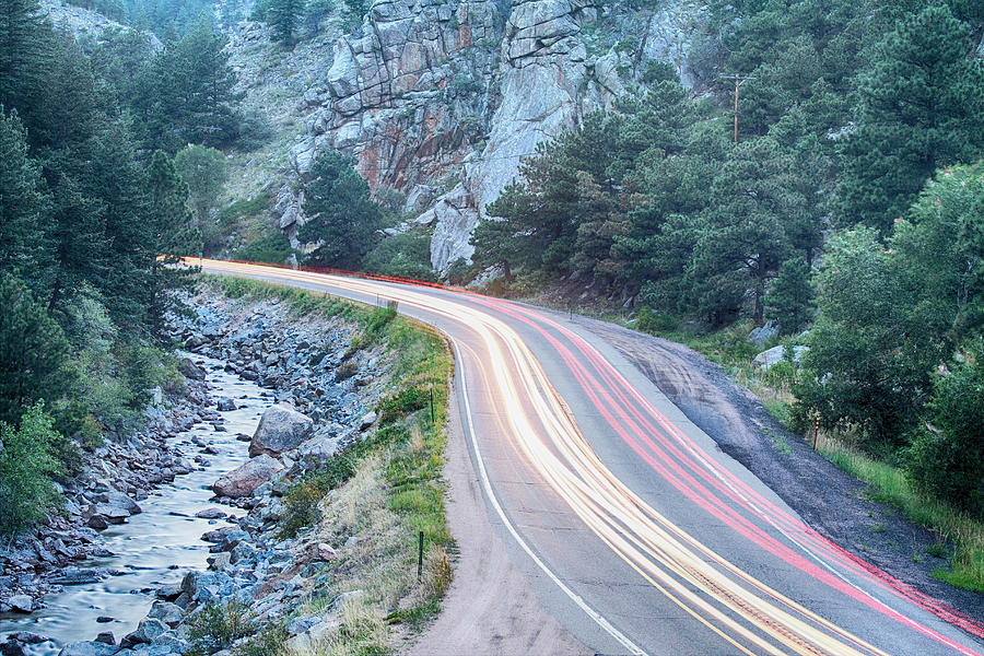 Night Photograph - Boulder Canyon Drive And Commute by James BO  Insogna